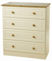 4 Drawer Cream/Pine Chest