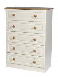 5 Drawer Cream/Pine Chest