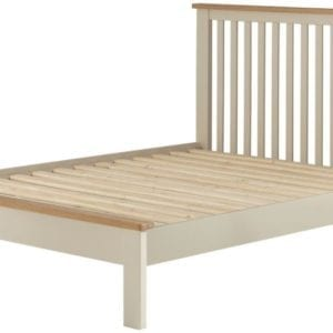 "Portlaois 4'6"" Bed Frame - Cream & Oak"
