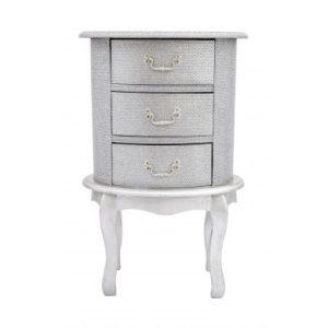 Silver Glitter Oval Bedside Table