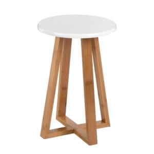 Viborg Round Bamboo Stool - White