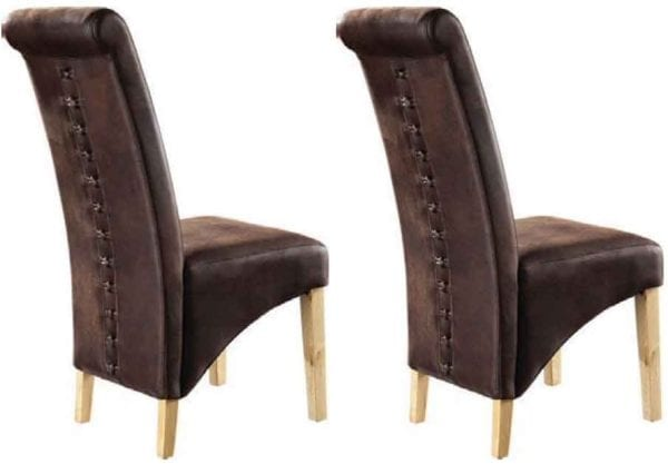 Brown Microfibre Fabric Dining Chair