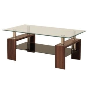 Frankfurt Glass Coffee Table - Walnut