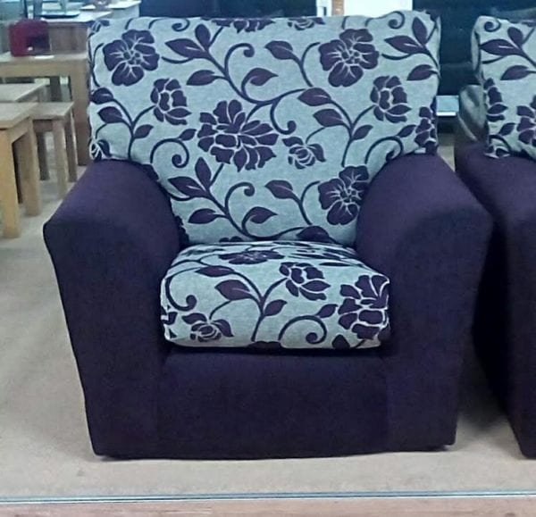 Purple Floral Armchair